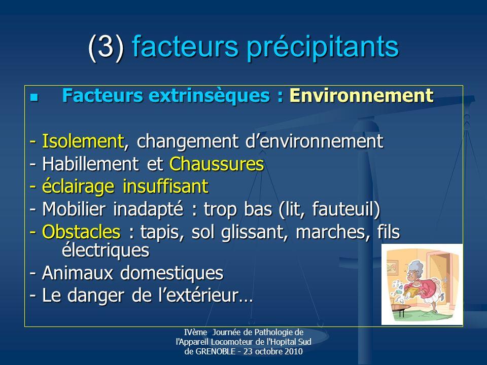 IVème Journée de Pathologie de l'Appareil Locomoteur de l'Hopital Sud de GRENOBLE - 23 octobre 2010 (3) facteurs précipitants Facteurs extrinsèques :