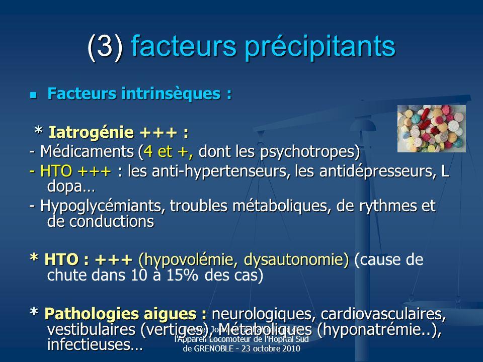 IVème Journée de Pathologie de l'Appareil Locomoteur de l'Hopital Sud de GRENOBLE - 23 octobre 2010 (3) facteurs précipitants Facteurs intrinsèques :