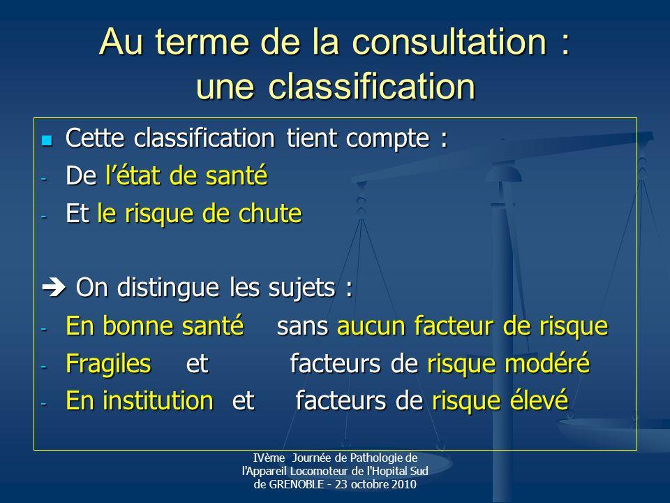 IVème Journée de Pathologie de l'Appareil Locomoteur de l'Hopital Sud de GRENOBLE - 23 octobre 2010 Au terme de la consultation : une classification C