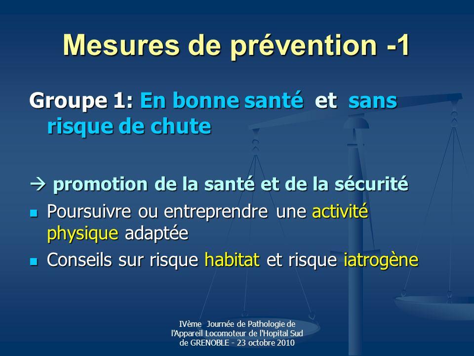 IVème Journée de Pathologie de l'Appareil Locomoteur de l'Hopital Sud de GRENOBLE - 23 octobre 2010 Mesures de prévention -1 Groupe 1: En bonne santé