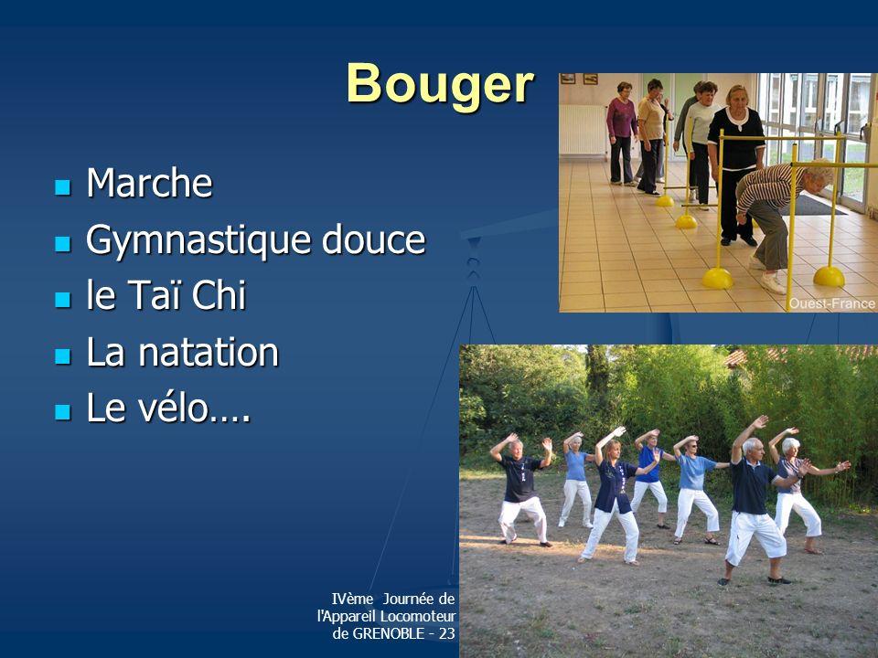 IVème Journée de Pathologie de l'Appareil Locomoteur de l'Hopital Sud de GRENOBLE - 23 octobre 2010 Bouger Marche Marche Gymnastique douce Gymnastique