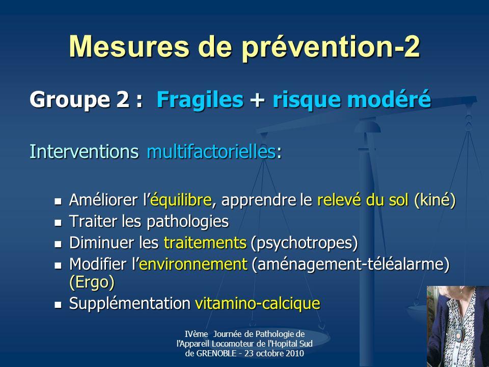 IVème Journée de Pathologie de l'Appareil Locomoteur de l'Hopital Sud de GRENOBLE - 23 octobre 2010 Mesures de prévention-2 Groupe 2 : Fragiles + risq