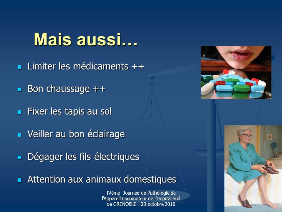 IVème Journée de Pathologie de l'Appareil Locomoteur de l'Hopital Sud de GRENOBLE - 23 octobre 2010 Mais aussi… Limiter les médicaments ++ Limiter les