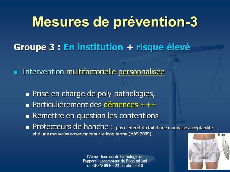 IVème Journée de Pathologie de l'Appareil Locomoteur de l'Hopital Sud de GRENOBLE - 23 octobre 2010 Mesures de prévention-3 Groupe 3 : En institution