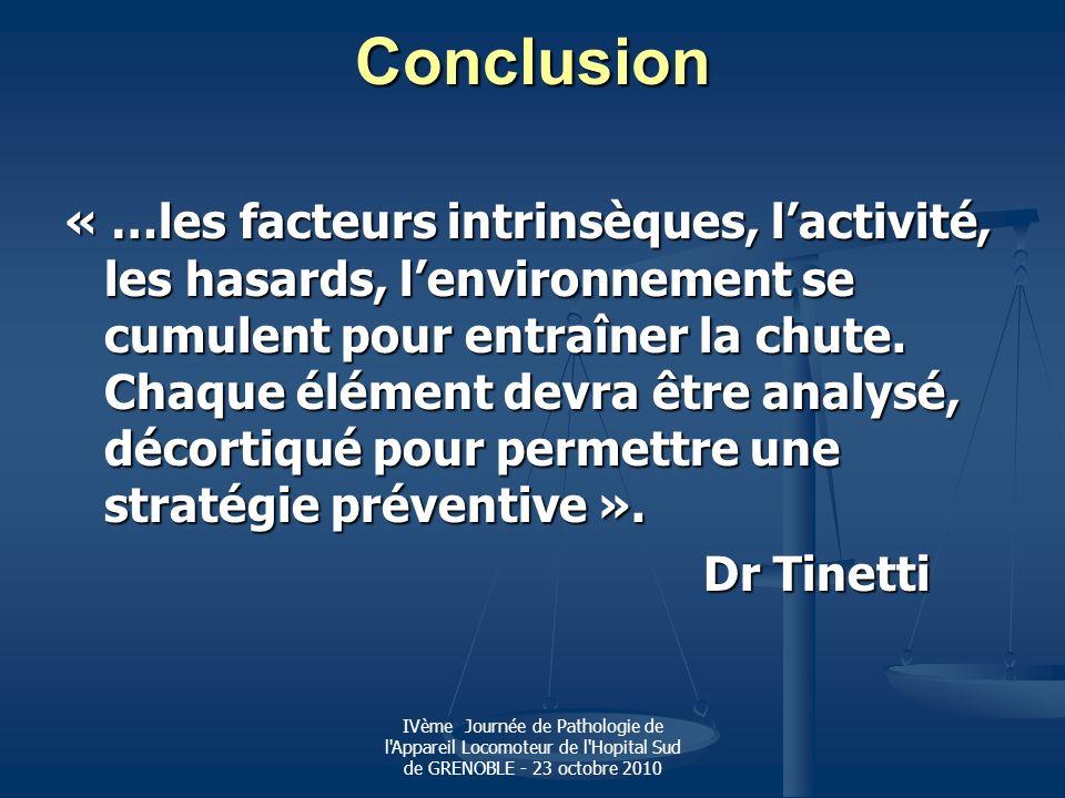 IVème Journée de Pathologie de l'Appareil Locomoteur de l'Hopital Sud de GRENOBLE - 23 octobre 2010 Conclusion « …les facteurs intrinsèques, lactivité