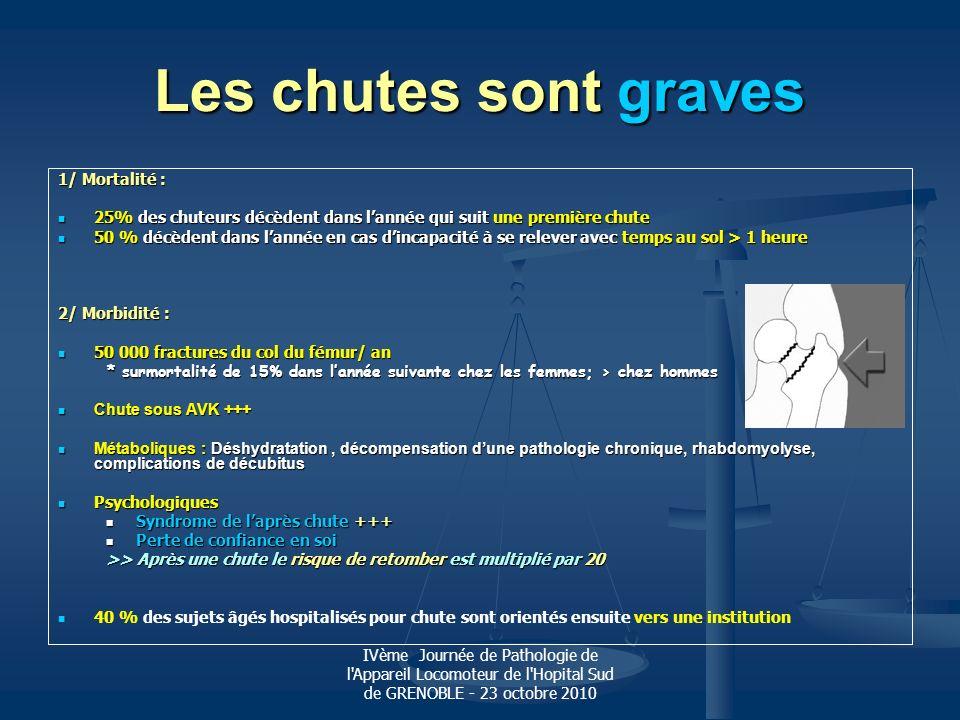 IVème Journée de Pathologie de l'Appareil Locomoteur de l'Hopital Sud de GRENOBLE - 23 octobre 2010 Les chutes sont graves 1/ Mortalité : 25% des chut