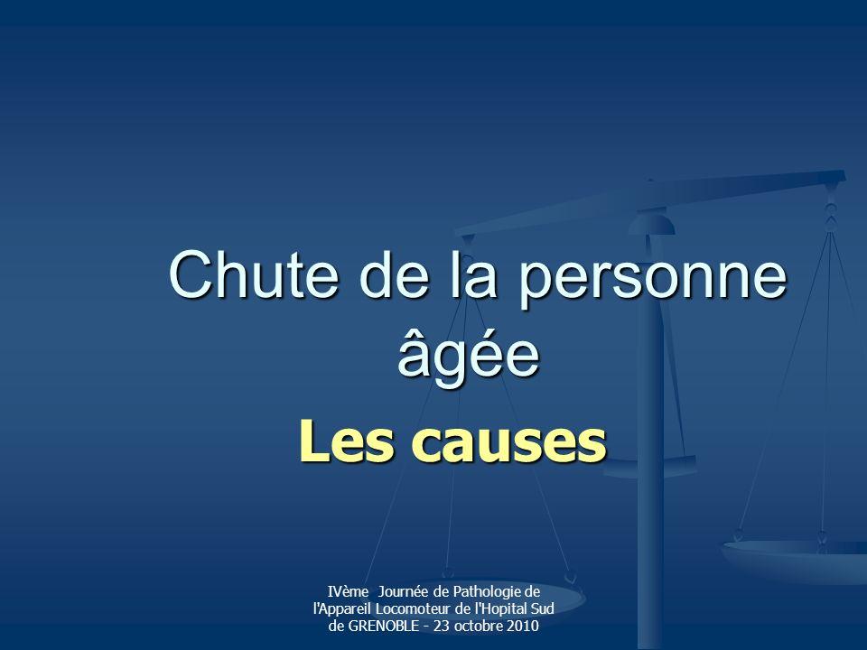 IVème Journée de Pathologie de l'Appareil Locomoteur de l'Hopital Sud de GRENOBLE - 23 octobre 2010 Chute de la personne âgée Chute de la personne âgé