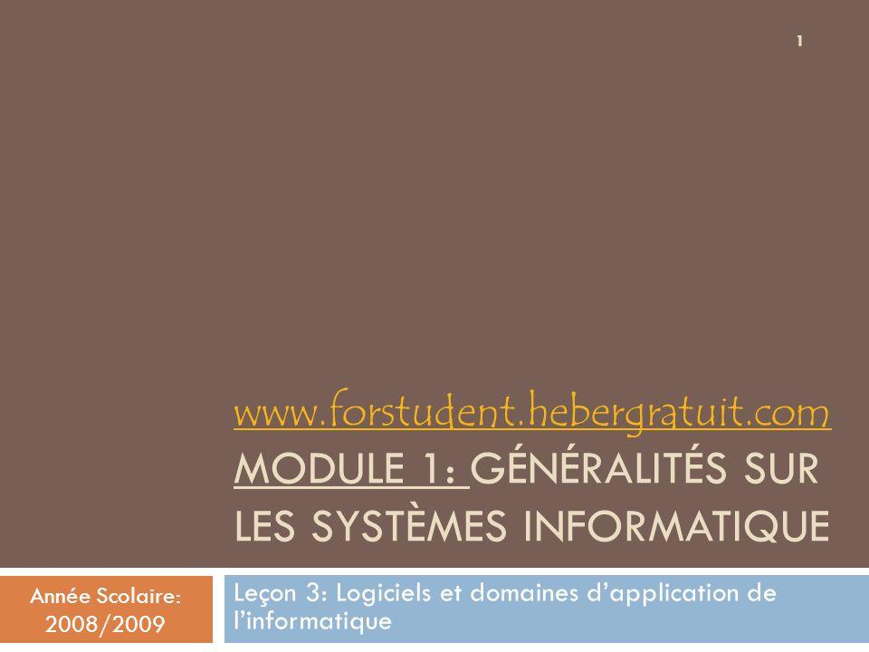 Année Scolaire: 2008/2009 12 Logiciels et domaines dapplication de linformatique