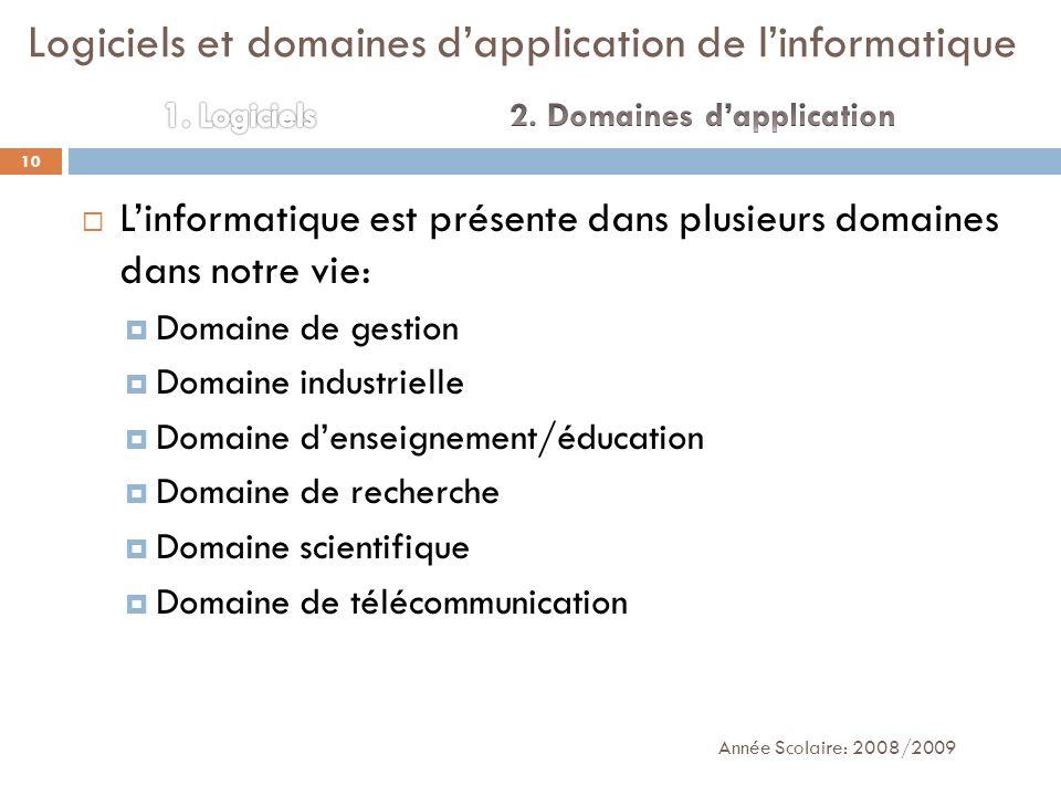 Linformatique est présente dans plusieurs domaines dans notre vie: Domaine de gestion Domaine industrielle Domaine denseignement/éducation Domaine de