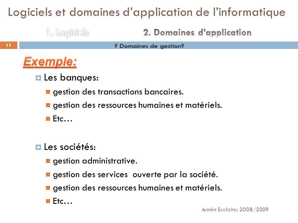 Année Scolaire: 2008/2009 11 Logiciels et domaines dapplication de linformatique