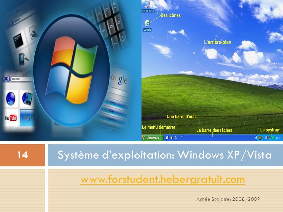 Année Scolaire: 2008/2009 14 www.forstudent.hebergratuit.com Système dexploitation: Windows XP/Vista