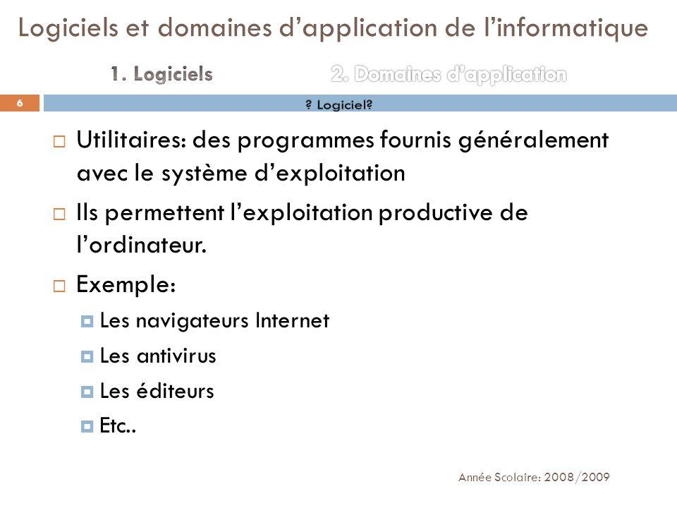 Utilitaires: des programmes fournis généralement avec le système dexploitation Ils permettent lexploitation productive de lordinateur. Exemple: Les na