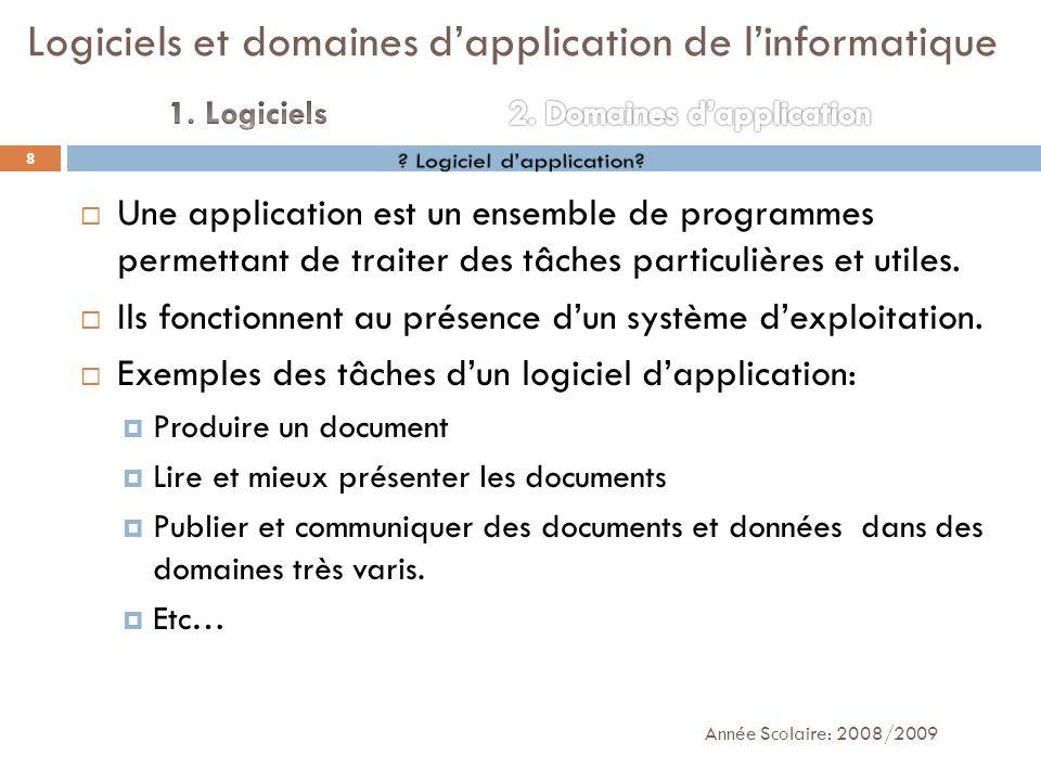 Une application est un ensemble de programmes permettant de traiter des tâches particulières et utiles. Ils fonctionnent au présence dun système dexpl