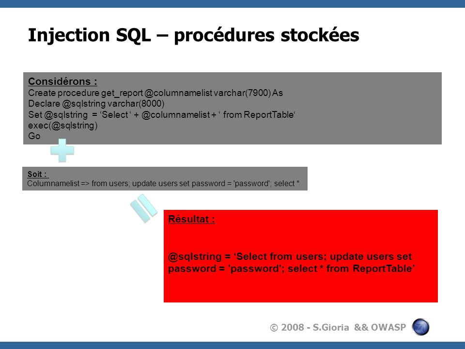 © 2008 - S.Gioria && OWASP Injection SQL – procédures stockées Considérons : Create procedure get_report @columnamelist varchar(7900) As Declare @sqls