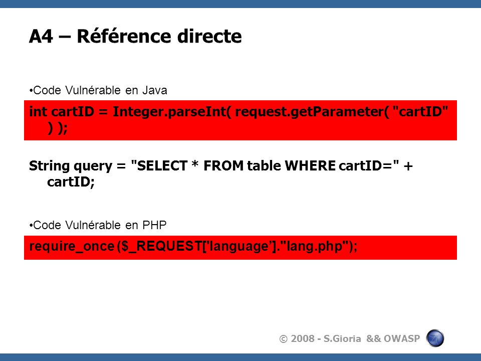 © 2008 - S.Gioria && OWASP A4 – Référence directe int cartID = Integer.parseInt( request.getParameter(
