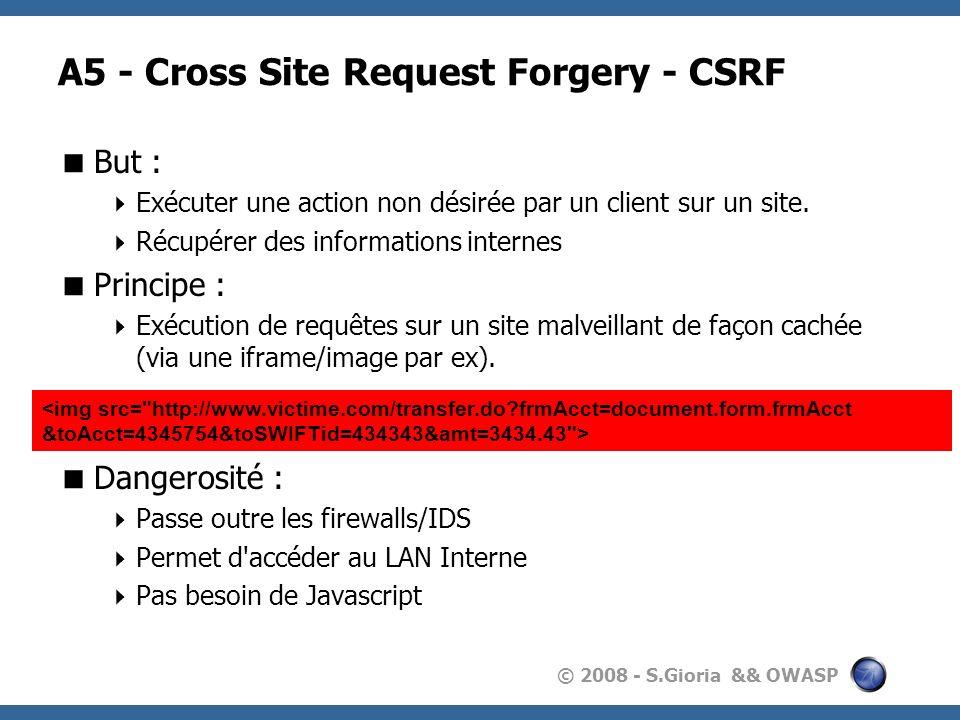 © 2008 - S.Gioria && OWASP A5 - Cross Site Request Forgery - CSRF But : Exécuter une action non désirée par un client sur un site. Récupérer des infor