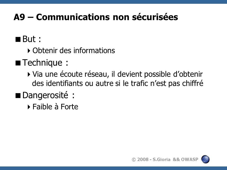 © 2008 - S.Gioria && OWASP A9 – Communications non sécurisées But : Obtenir des informations Technique : Via une écoute réseau, il devient possible do