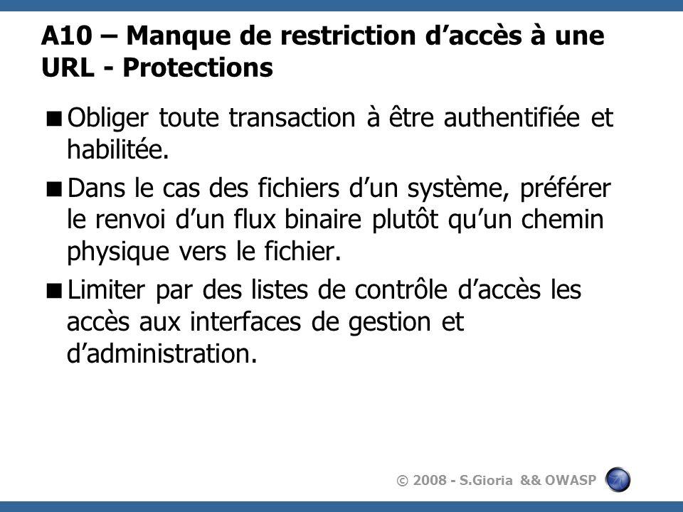 © 2008 - S.Gioria && OWASP A10 – Manque de restriction daccès à une URL - Protections Obliger toute transaction à être authentifiée et habilitée. Dans
