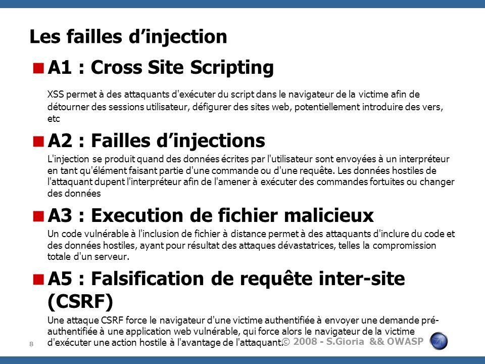 © 2008 - S.Gioria && OWASP Les failles dinjection A1 : Cross Site Scripting XSS permet à des attaquants d'exécuter du script dans le navigateur de la