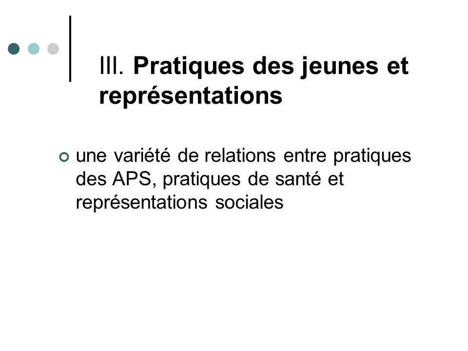 III. Pratiques des jeunes et représentations une variété de relations entre pratiques des APS, pratiques de santé et représentations sociales