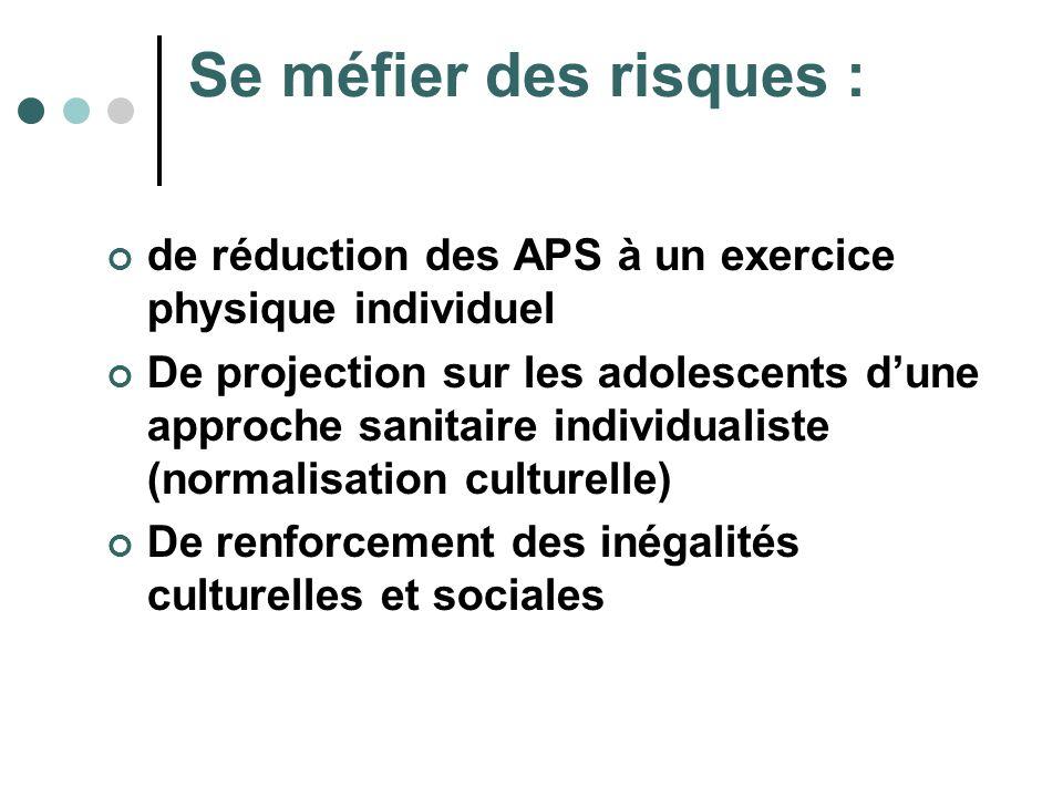 Se méfier des risques : de réduction des APS à un exercice physique individuel De projection sur les adolescents dune approche sanitaire individualist