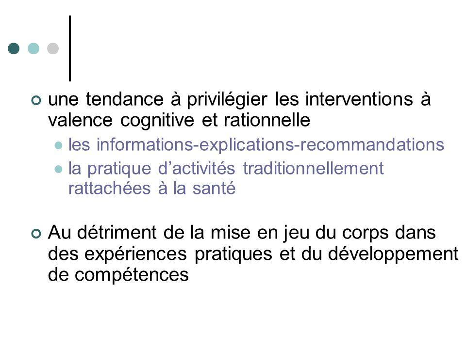 une tendance à privilégier les interventions à valence cognitive et rationnelle les informations-explications-recommandations la pratique dactivités t