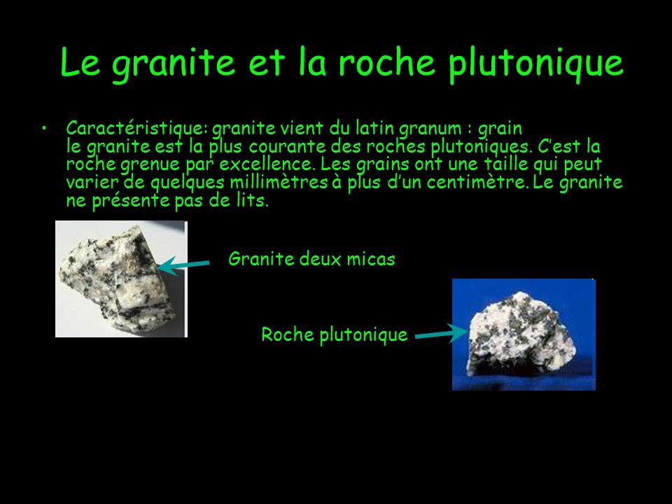 Le granite et la roche plutonique Caractéristique: granite vient du latin granum : grain le granite est la plus courante des roches plutoniques. Cest