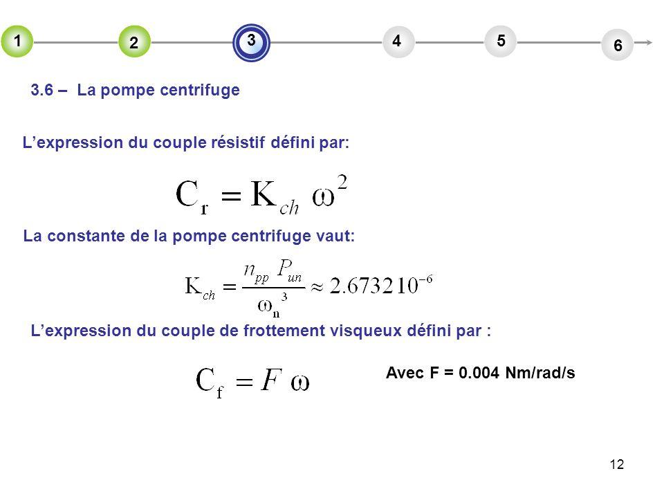 12 2 45 6 3 1 2 3.6 – La pompe centrifuge Lexpression du couple résistif défini par: La constante de la pompe centrifuge vaut: Lexpression du couple d