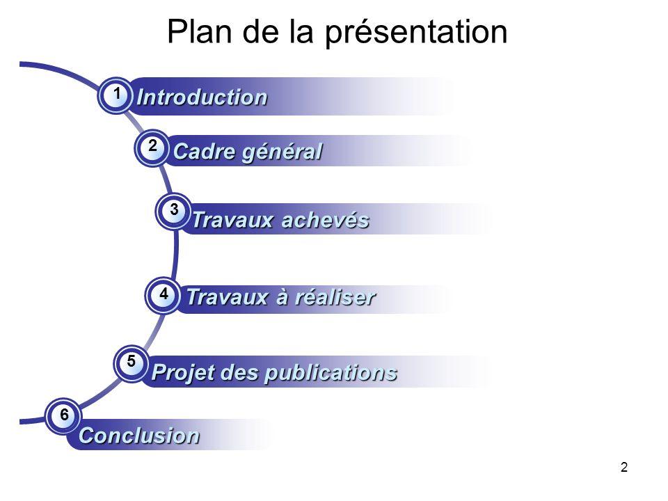 2 Plan de la présentation Travaux achevés Cadre général Introduction Travaux à réaliser Projet des publications 1 2 3 4 5 Conclusion 6