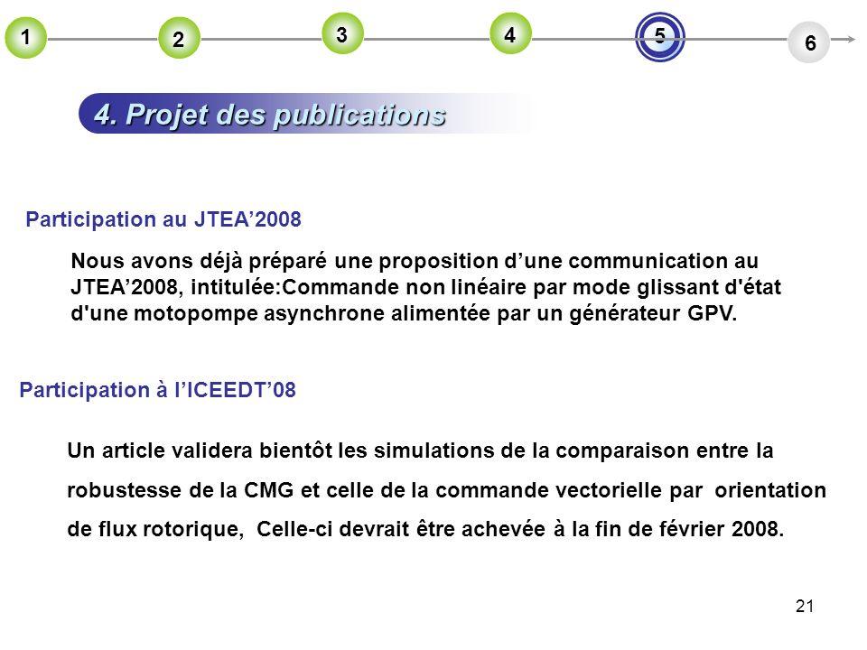 21 4. Projet des publications 5 2 6 1 2 2 3 2 4 Un article validera bientôt les simulations de la comparaison entre la robustesse de la CMG et celle d