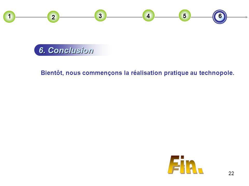 22 6. Conclusion 2 1 2 2 3 2 4 2 56 Bientôt, nous commençons la réalisation pratique au technopole.