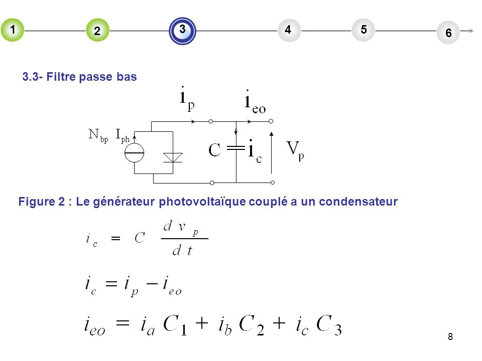 8 3.3- Filtre passe bas 2 45 6 3 1 2 Figure 2 : Le générateur photovoltaïque couplé a un condensateur