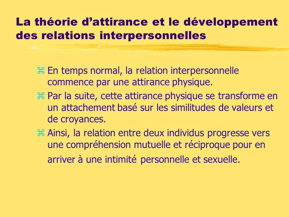 La théorie dattirance et le développement des relations interpersonnelles zEn temps normal, la relation interpersonnelle commence par une attirance ph