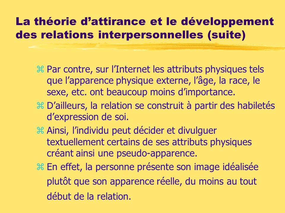 La théorie dattirance et le développement des relations interpersonnelles (suite) zPar contre, sur lInternet les attributs physiques tels que lapparen