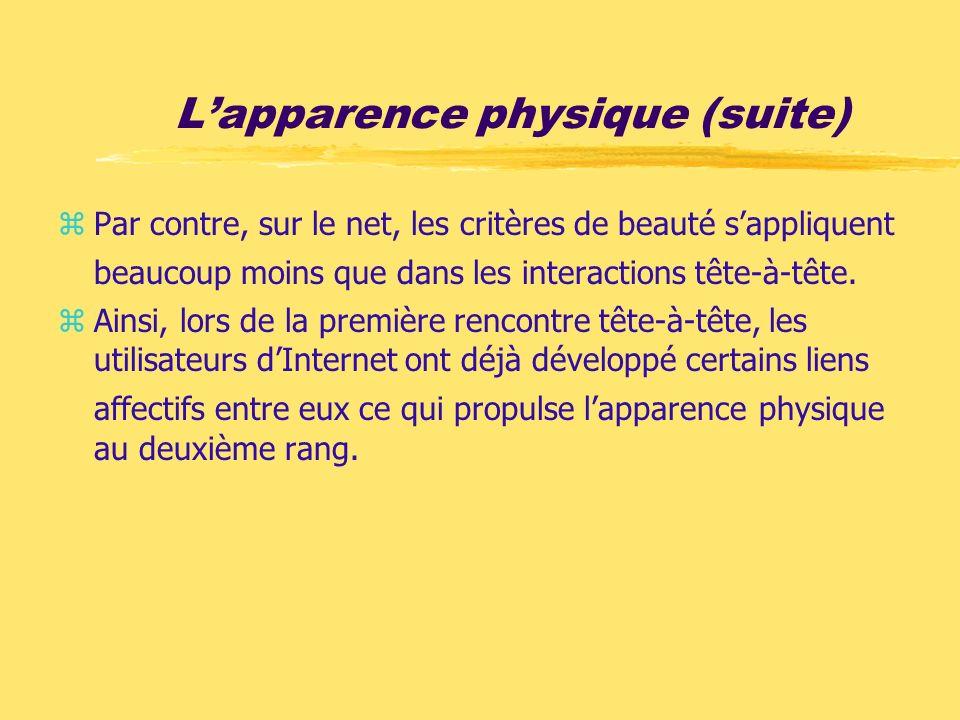 Lapparence physique (suite) zPar contre, sur le net, les critères de beauté sappliquent beaucoup moins que dans les interactions tête-à-tête. zAinsi,
