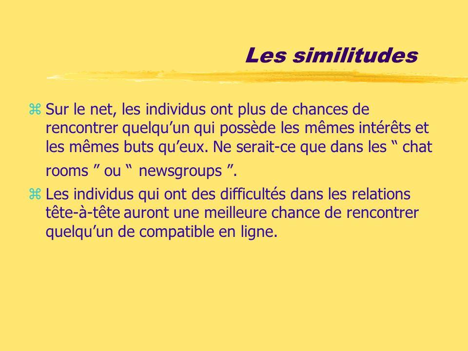 Les similitudes zSur le net, les individus ont plus de chances de rencontrer quelquun qui possède les mêmes intérêts et les mêmes buts queux. Ne serai