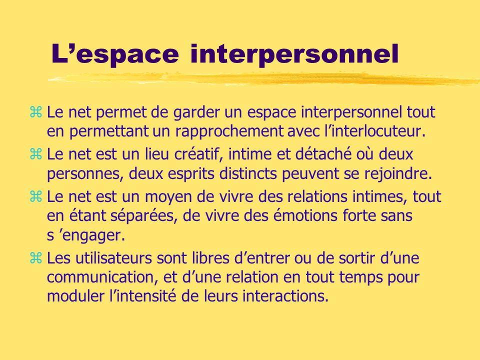 Lespace interpersonnel zLe net permet de garder un espace interpersonnel tout en permettant un rapprochement avec linterlocuteur. zLe net est un lieu