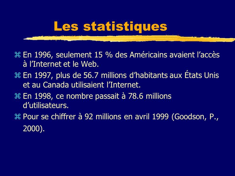 Les statistiques zEn 1996, seulement 15 % des Américains avaient laccès à lInternet et le Web. zEn 1997, plus de 56.7 millions dhabitants aux États Un