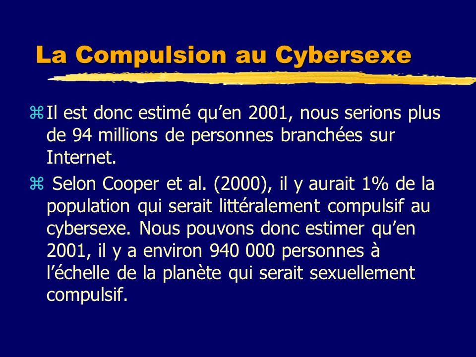 La Compulsion au Cybersexe zIl est donc estimé quen 2001, nous serions plus de 94 millions de personnes branchées sur Internet. z Selon Cooper et al.