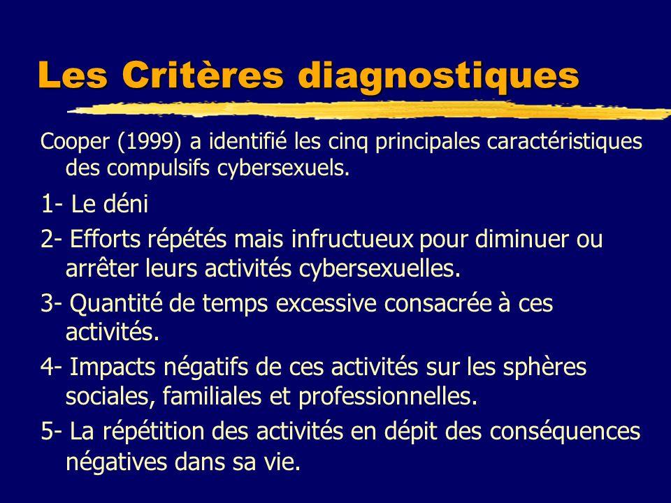 Les Critères diagnostiques Cooper (1999) a identifié les cinq principales caractéristiques des compulsifs cybersexuels. 1 - Le déni 2- Efforts répétés