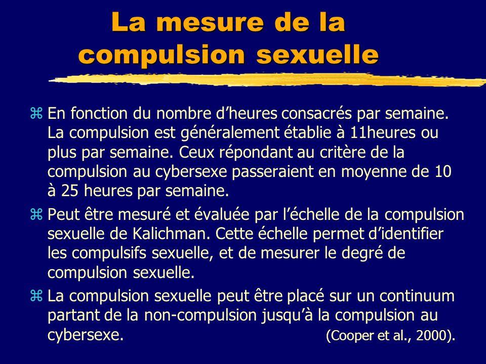 La mesure de la compulsion sexuelle zEn fonction du nombre dheures consacrés par semaine. La compulsion est généralement établie à 11heures ou plus pa