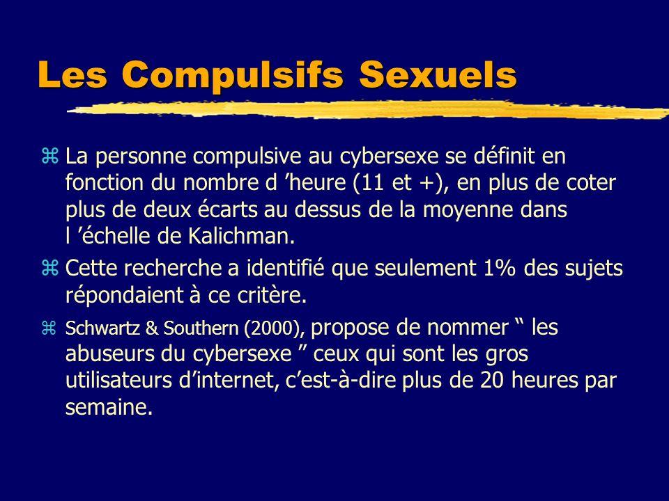 Les Compulsifs Sexuels zLa personne compulsive au cybersexe se définit en fonction du nombre d heure (11 et +), en plus de coter plus de deux écarts a