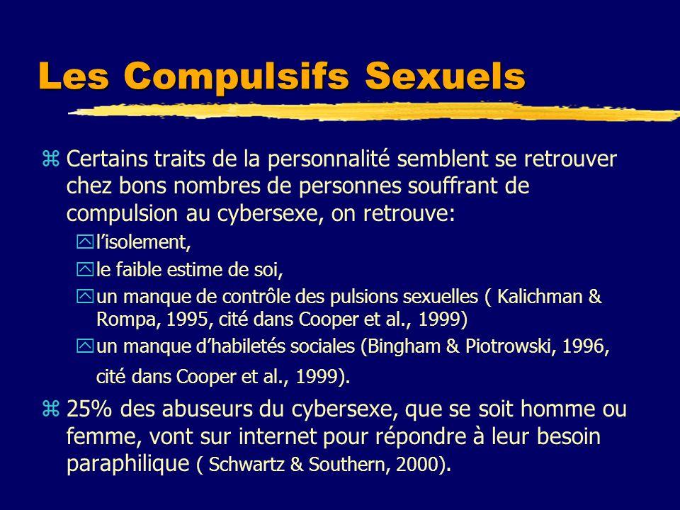 Les Compulsifs Sexuels zCertains traits de la personnalité semblent se retrouver chez bons nombres de personnes souffrant de compulsion au cybersexe,