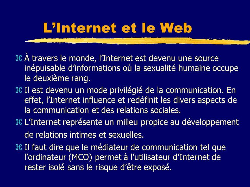 LInternet et le Web (suite) zPermet de réaliser ses fantasmes sexuels sans conséquences négatives sur lenvironnement immédiat et lointain.