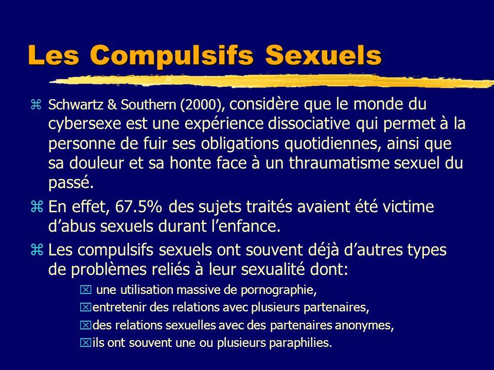 Les Compulsifs Sexuels zSchwartz & Southern (2000), considère que le monde du cybersexe est une expérience dissociative qui permet à la personne de fu