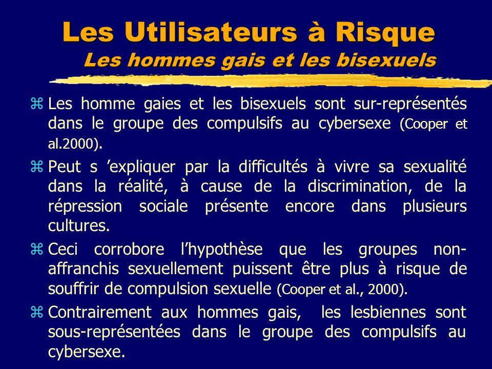 Les Utilisateurs à Risque Les hommes gais et les bisexuels zLes homme gaies et les bisexuels sont sur-représentés dans le groupe des compulsifs au cyb