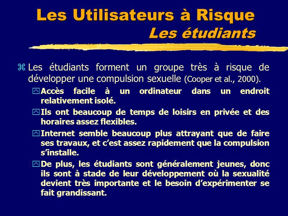 Les Utilisateurs à Risque Les étudiants zLes étudiants forment un groupe très à risque de développer une compulsion sexuelle (Cooper et al., 2000). yA