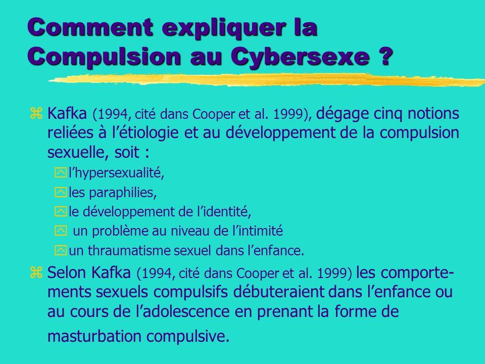 Comment expliquer la Compulsion au Cybersexe ? zKafka (1994, cité dans Cooper et al. 1999), dégage cinq notions reliées à létiologie et au développeme
