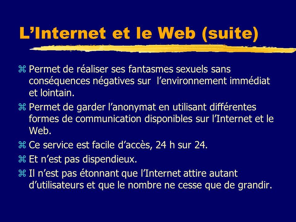 LInternet et le Web (suite) zPermet de réaliser ses fantasmes sexuels sans conséquences négatives sur lenvironnement immédiat et lointain. zPermet de