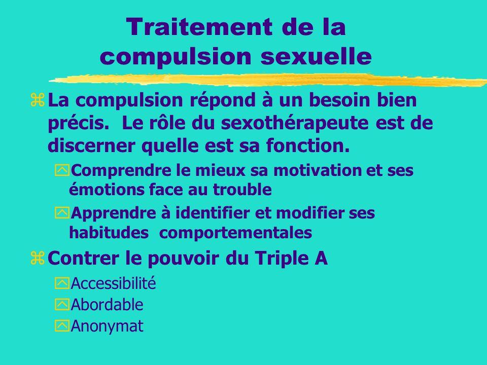 Traitement de la compulsion sexuelle zLa compulsion répond à un besoin bien précis. Le rôle du sexothérapeute est de discerner quelle est sa fonction.